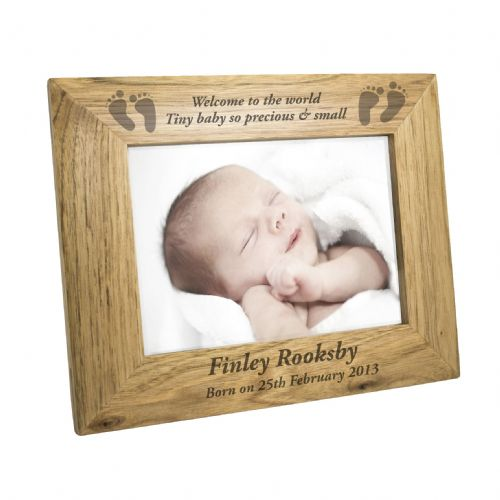 Personalised Landscape Baby Foot 6x4 Wooden Frame